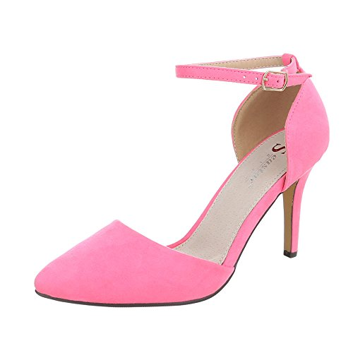 Ital-Design High Heel Pumps Damen-Schuhe High Heel Pumps Pfennig-/Stilettoabsatz High Heels Schnalle Pumps Pink, Gr 37, Sy02-3-