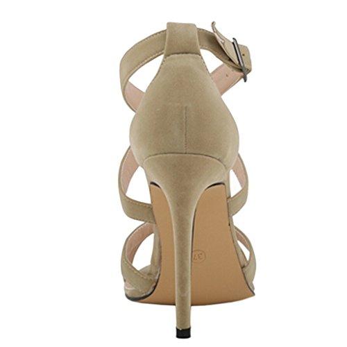 EKS Damen Strappy Sandals Cross Strap Stilettos High Heels Sandalen Beige-Faux Wildleder