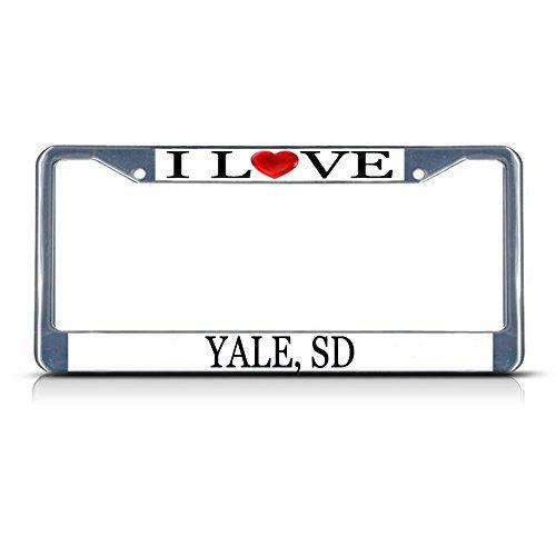 Yale Frames (Nummernschild Rahmen I LOVE Herz Yale SD Aluminium Metall Nummernschild Rahmen silber)