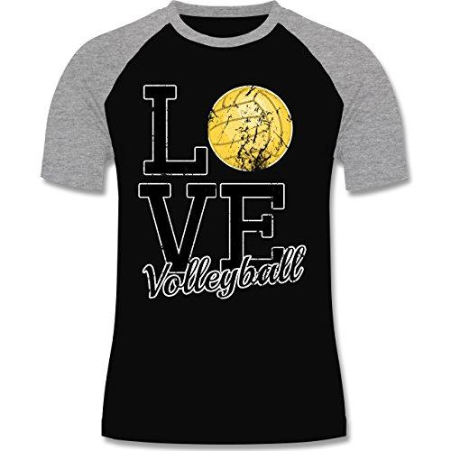 Volleyball - Love Volleyball - zweifarbiges Baseballshirt für Männer Schwarz/Grau Meliert