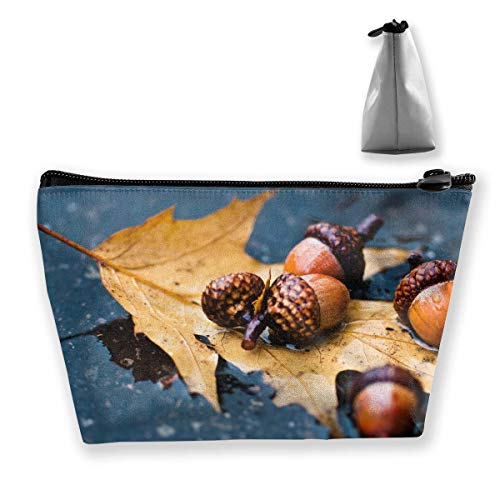 Trapez Reise Make-up Taschen Kulturbeutel Tragbare Stiftetui Fall Nut Fallen Leaf Bag (Caboodles Große Make-up Fall)