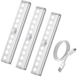 [3 Pack] AMIR Lampe Détecteur de Mouvement, Lampe de Placard, USB Rechargeable Veilleuse LED, 10 LED Lampe Escalier pour Cabinet Penderie Cuisine Armoire Placard Entrée Couloir Toilette Cabine (Blanc)