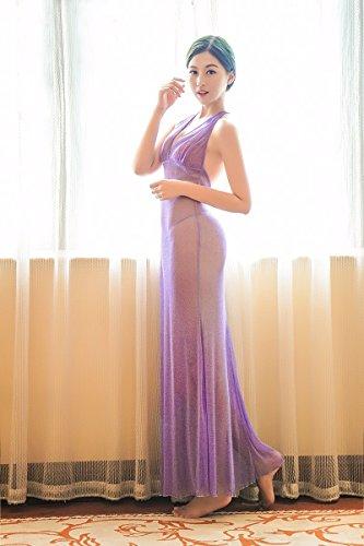 Leichte transparente Seide tiefen v-Ausschnitt rückenfreie Kleider Kleid Abendkleid Lila