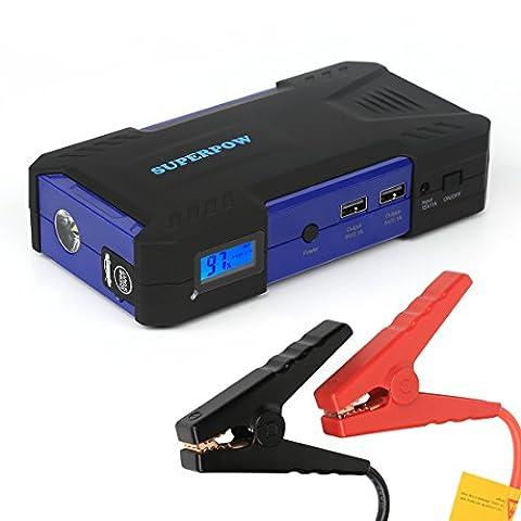 SUPERPOW Chargeur de Batterie Portable 800A Peak Booster Voiture Jump Starter supporte les Moteurs à 6,5L d'Essence ou à 5.2L de Diesel 18000mAH PowerBank avec LED Flashlight