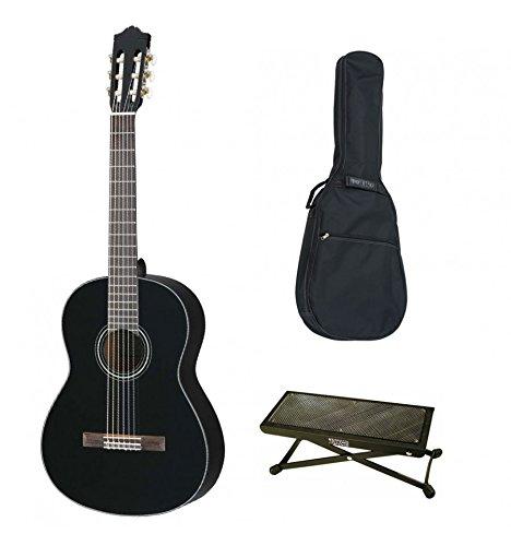 Yamaha C40BL schwarz-Akustik Konzert Gitarre Klassikgitarre (Tasche, Stimmgerät) und Fußablage