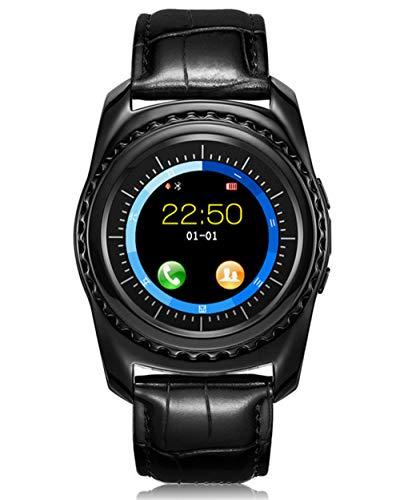 QHCGOOD Smart Watch, wasserdichte Bluetooth Smartwatch mit Kamera SIM TF Kartensteckplatz Touchscreen entsperrt Handy Sport Fitness Tracker Männer Frauen Kinder schwarz Black (Entsperrt Frauen-handy)