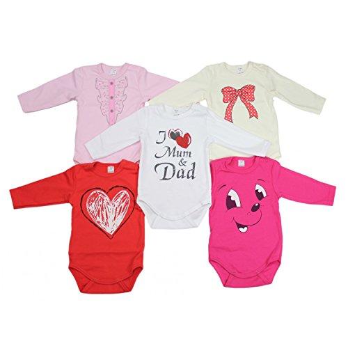 TupTam Unisex Baby Langarm-Body mit Aufdruck Spruch 5er Pack, Farbe: Mädchen, Größe: 62