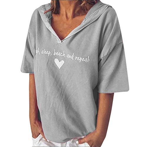 TOPSELD T Shirt Damen, Frauen Arbeiten BeiläUfige Kurze HüLsen V-Ausschnitt Letter Print Tops T-Shirt Bluse