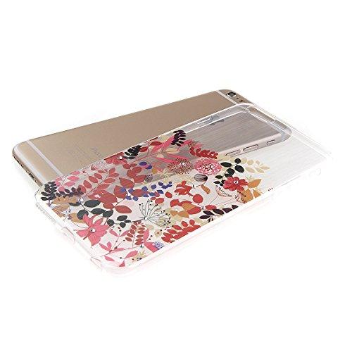 iPhone 6S plus Case,iPhone 6 plus Cover, Felfy Apple iPhone 6/6S plus 5.5 inch Rosa weiße Blume Muster Intarsien Shiny Funkeln Diamant Design Ultra Dünne weiche TPU Gel Silikon Transparent Clear Cryst Baum Blume