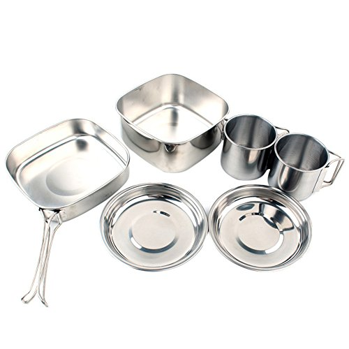 Camping Cookware Set, 6PCS Stainless Steel Camping Cookware Mess Kit Kitchen Utensil Outdoor Picnic Cook Equipment Lightweight Compact Durable Portable for Camping Hiking Backpacking