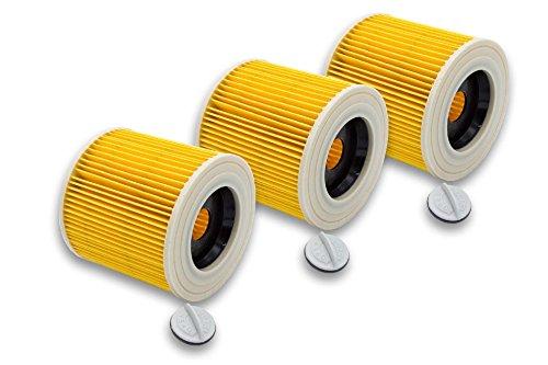 vhbw 3x Patronen Filter für Waschsauger Kärcher A1000, A1001, MV2, MV3, MV3 Fireplace Kit, WD 3.800 M Eco Logic, 4000 Plus, 4000 TE wie 6.414-552.0.