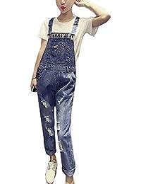 Guiran Donna Lunga Casual Strappati Salopette Boyfriend Elegante Baggy  Pantaloni Jeans Blu XL b3b77c30bc1