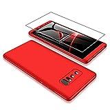 AILZH Samsung Galaxy Note 8 H�lle 360 Grad HandyH�lle PC Hartschale Anti-Schock Schutzh�lle Anti-Kratz Sto�f�nger Bumper 360� Cover Case Schutzkasten+Screen Protector(Rot) Bild