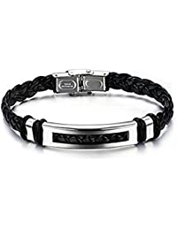 Bracelet simili cuir et acier avec fermoir boucle et plaque en acier inoxydable - Superbe bijou homme pas cher