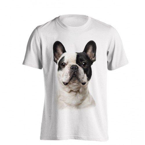 The T-Shirt Factory - Camiseta Modelo Bulldog Francés para Hombre (S/Blanco)