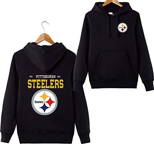 ZXTXGG Männer 3D Hoodies Pittsburgh Steelers NFL Football Team Uniform Muster Digitaldruck Liebhaber Kapuzenpullis(XXXL,Schwarz) (Xxxl Steelers)