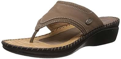 Dr.Scholl Women's Walk-Thong Beige Leather Slippers - 4 UK/India (37 EU) (6748729)