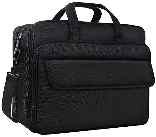Erweiterbare Laptop-tasche (17 Zoll Laptop Tasche,erweiterbare Computer Aktentasche Wasserabweisende multifunktionale große Business-Tasche Schultertaschen für Männer Frauen Reisebüro Umhängetasche für Notebook, Schwarz)