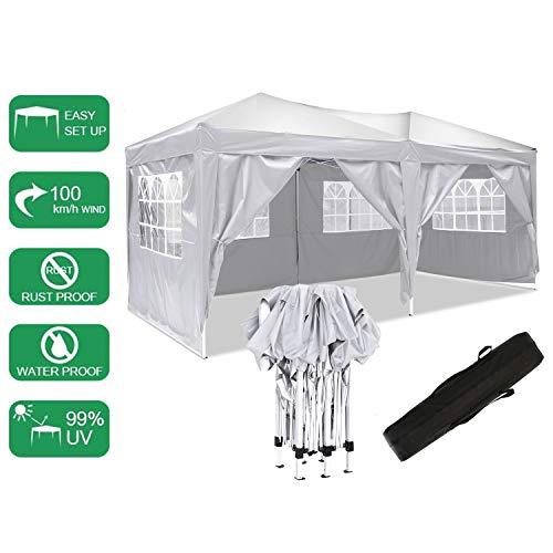 bunao robusto gazebo pieghevole da 3 x 6m,tenda da giardino pieghevole/retrattile, impermeabile, rivestimento in pvc, ha in dotazione una sacca per il trasporto gratuita