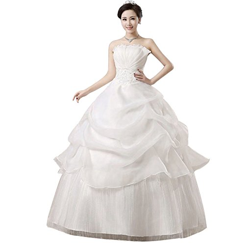 acutty Bridal Ball Gown Wedding Dress Off Shoulder Strapless Lace Up Princess  Dresses f9aea4e4f4ec