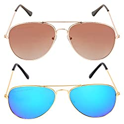 Criba Combo Pack of Brown Double Shade and Mercury Aviator Sunglass - BNGB