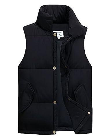 Homme Loose Légère Doudoune Sans Manche Gilet Veste Manteau Bouton Blouson Noir XL