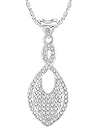 VK Jewels Fish Shape Rhodium Plated Alloy CZ American Diamond Pendant With Chain For Women [VKP2736R]