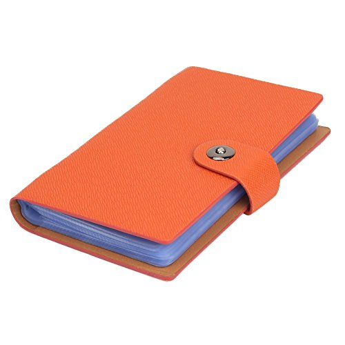 Orange Card Business Holder (Business Karte Halterung Album Name Card Buch Kreditkarte Organizer für 300Karten mit Magnet Verschluss Leder Cover Orange)