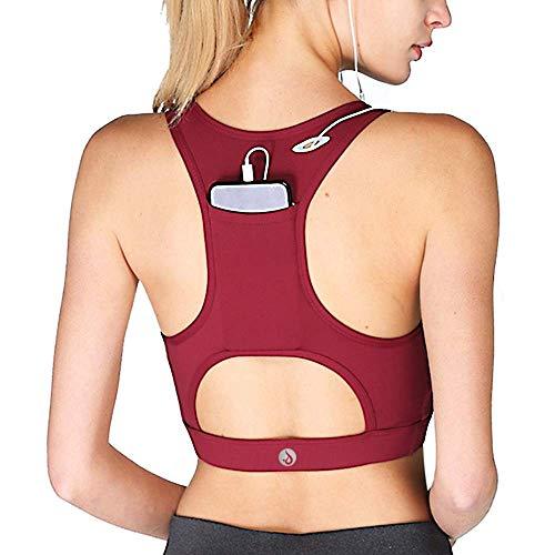 Criss Cross Rücken-unterstützung (YIANNA Damen Sport BH Ohne Bügel Bequem Atmungsaktiv Yoga BH mit Abnehmbare Gepolstert Rot,UK-YA-BRA150-Red-XXL)