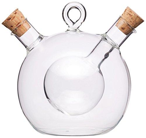 Kitchencraft World of Flavours 2en 1Ronda dispensador de Aceite de Oliva y vinagre Botella–de Cristal, Transparente
