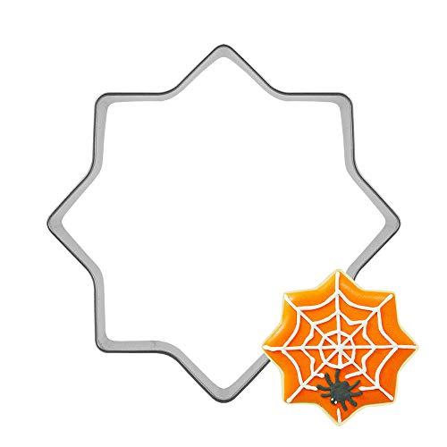 Plätzchenform Edelstahl Halloween Trick or Treat Spinnweben Plätzchenausstecher Schlicht Spiderwebs Hut Halloween Kostüm Kupfer Ausstecher Silber 7,1 x 7,1 cm