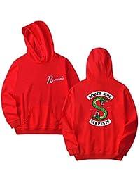 OLIPHEE Homme Unisexe Sweater Capuche avec Motif de Riverdale South Side Serpents Lover Sweat-Shirt Hoodie Pullover Manches Longues