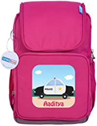 UniQBees Personalised School Bag With Name (Smart Kids Large School Backpack-Pink-Police Siren)