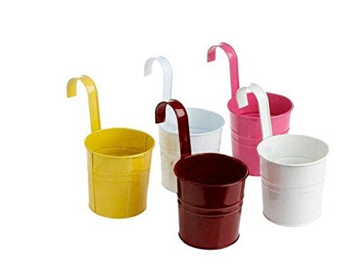 webest Pastoral Balkon Farbe Eisen zum Aufhängen Bucket Große Blume verknüpft werden können Blumentöpfe Simulation Blume Personalisierte Aufhängen Waschbecken Home Dekoration Soil color