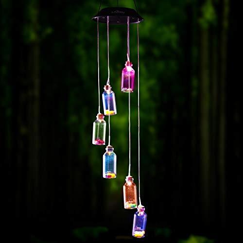 Solar LED Mobile Windspiel Farbwechsel Solarleuchten Solarbetriebene Mobile Windspiele Licht für Gartendeko (Wunschflasche)