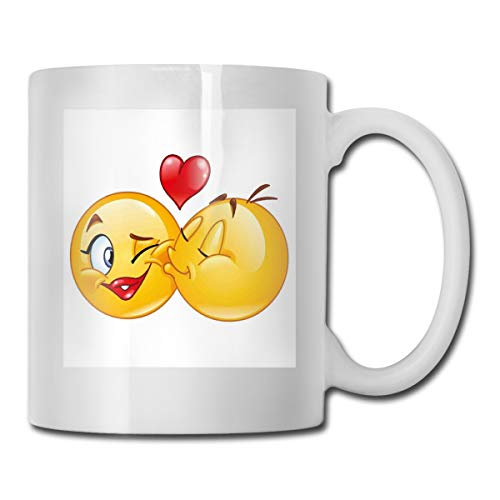 Jolly2T Funny Ceramic Novelty Coffee Mug 11oz,Romantic Flirty Loving Smiley Faces Couple Kissing Eachother Hearts Image Art Print,Unisex Who Tea Mugs Coffee Cups,Suitable for Office and Home Gold Loving Cup