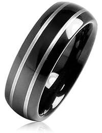 Bling Jewelry Anillo Tungsteno con Acabado de Espejo Negro Anillo de Boda 8mm