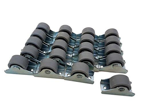 (Packung mit 20 Stück) 25 mm Gummirollen-Set aus Kunststoff, drehbar, Doppelrollen, Metall mit Platte, für Möbel, Geräte & Ausrüstung, kleine Mini-Rollen