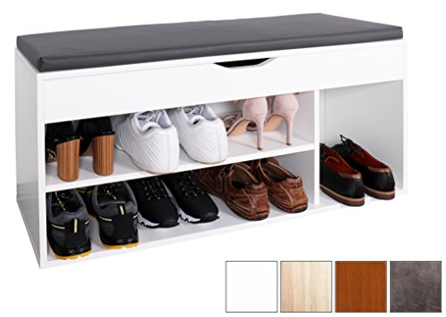 RICOO Schuhregal mit Sitzfläche Schuhschrank WM034-W-A Schuhablage Schuhkommode Organizer Boden...