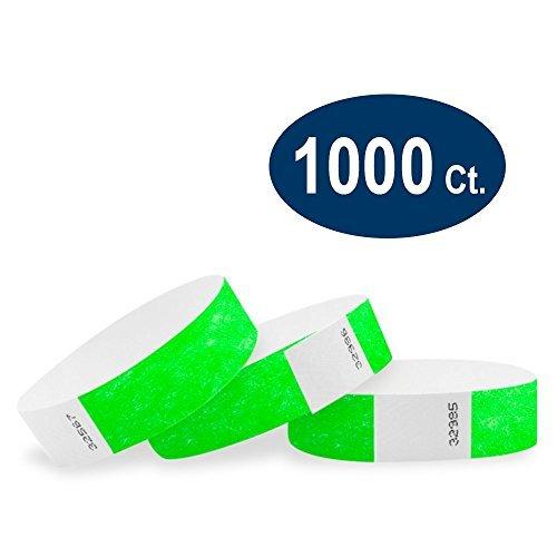 wristco Neon Grün 3/10,2cm Kontrollbänder Tyvek 1000 Count neon green