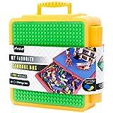 FidgetGear Medium Creative Brick Box,Multifunctional Kids Dustproof Box for Assembly Blocks Storage Orange-Green (Does not Include Blocks)