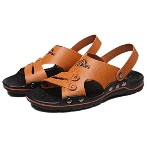 SHANGXIAN Giallo di uomo scarpe nuovo stile caldo vendita all'aperto Casual Comfort in microfibra Beach Sandals Brown / white 43