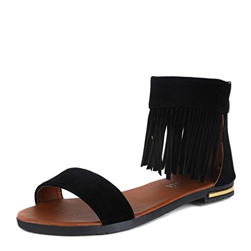 Transer ® Fashion femmes Mesdames été Peep-toe Tassel faible sandales tongs Noir