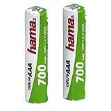 Hama AAA Akkus 2er-Pack (700 mAh, wiederaufladbar, 2x Micro Ni-MH Batterie, 1,2 V, geeignet für Schnurlostelefone)