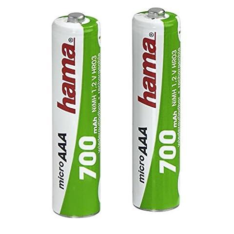 Hama AAA Akkus (700 mAh, Wiederaufladbar, 2x Micro Ni-MH Batterie, 1,2 V, geeignet für Schnurlostelefone) 2er-Pack