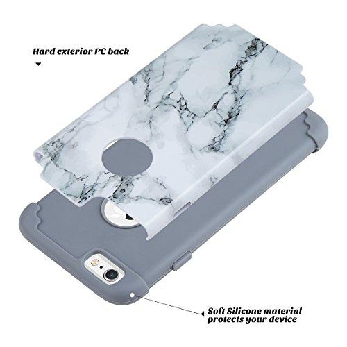 Cover iPhone 6S, ULAK Cover per iPhone 6 / 6s Custodia Stampato Design PC+ Silicone ibrido impatto grande Difensore Combo duro morbido Case per Apple iPhone 6 / 6S 4.7 (Oro Rosa) Marmo