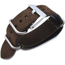MiLTAT 24mm Nubuck Leather Grezzo Zulu watch strap D. Brown Thick armband - Green Hand Stitch