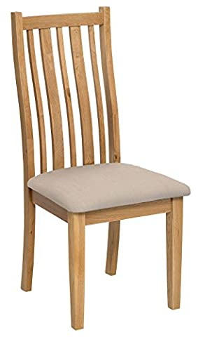 Solid Oak Dining Chair in Light Oak Finish with Natural Beige Fabric Seat Pad | Wooden Linen Seating