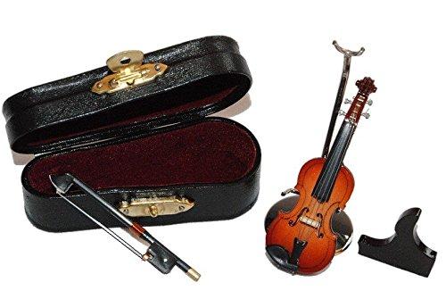 alles-meine.de GmbH 3 TLG. Set Violine mit Kasten - Holz Miniatur - Maßstab 1:12 - Puppenstube Musikinstrument Geige Musik