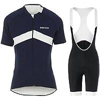 GWJ Ladies Cycling Jersey Half Sleeve Bike Team Racing Top + Culotte Corto,Black,XL